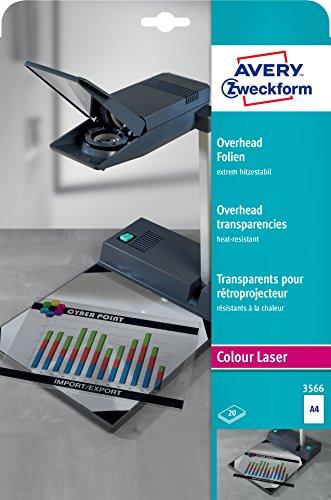 AVERY Zweckform 3566 Overhead-Folien für Farblaserdrucker (20 Transparentfolien, A4, spezialbeschichtet, stapelverarbeitbar, extrem hitzestabil durch erhöhte Folienstärke 0,13mm, lösemittelfrei)