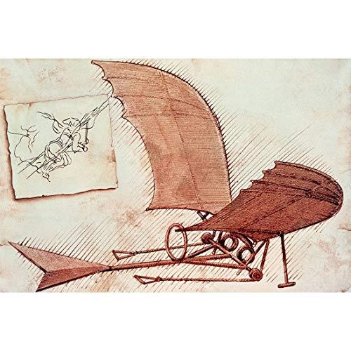 Arte de Pared Colgantes Lienzo Pinturas de Arte de Pared Lienzo de Arte Cuadros de Arte de Pared Carteles Impresiones Invenciones Dibujos de máquina voladora de Leonardo Da Vinci Decoración Pintura