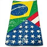 Pizeok Brasil Estados Unidos Bandera de América Microfibra Toalla Multicolourcolourusos Toallas de baño Toallas de Mano Toallas de Mano Toallas de baño To