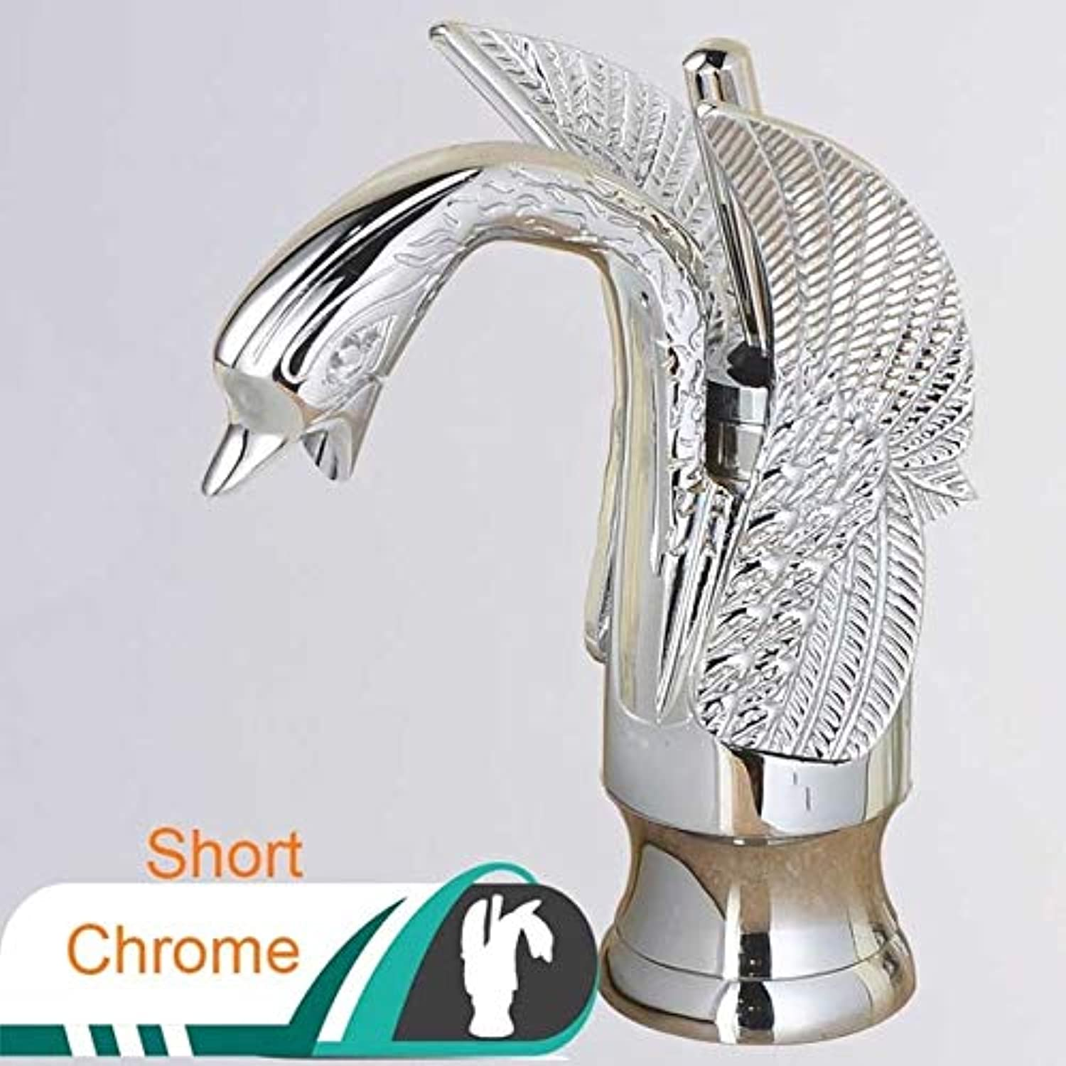U-Enjoy Chandelier Basin Faucet Swan Single Black Top Quality Bronze Handle Bathroom Mixer Tap Mounted Brass Hot Deck Cold Water Tap Chrome Mixer Tap Free Shipping [Short Chrome]