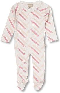Babyushka Pink Strips Organic Long Sleeve Zip Romper, 3-6 Months (00)