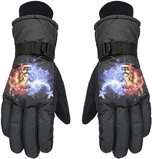 2Pcs Ski Gloves Men Women Kids Ski Glove Lion Pattern Furry Waterproof Anti-Lost Ski Hand Protector Winter Warm Snowboarding