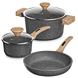 Lightning Deal Pots and Pans Set, Multilayer Stone Non-Stick Coating from Germany, Anti-Warp Marble Induction Cookware Set with Silicone Handles,Dishwasher Safe, APEO and PFOA Free, 5-Piece