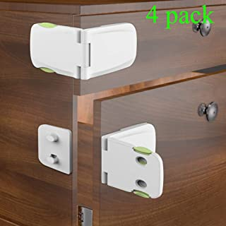 Been5le Child Safety Cabinet Locks - [4 Pack], Baby Proofing Cabinet Latch for Kitchen Storage Doors, Drawers, Cupboard, Oven, Refrigerator (White&Green)