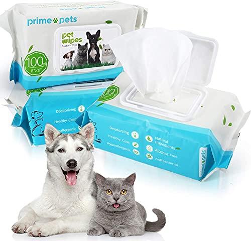 PrimePets 300 Piezas Toallitas Higiene Perro y Gato, Toallitas de Aseo de Cuidado para Mascotas Desodorizante Hipoalergénico 100% Libres de Fragancia, Naturales y Antibacterianas para la Limpieza