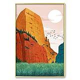 DIYPintarpornúmerosMontaña Abstracta Arte Pintado A Mano Creativo Pintura Al Óleo Digital el hogar Salón Decoración de la imagen40x50cm (SinMarco)