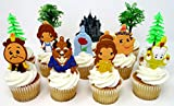 Beauty and the Beast Birthday Cake CUPCAKE Topper Set Featuring Characters from Beauty and the Beast and Themed Decorative Accessories