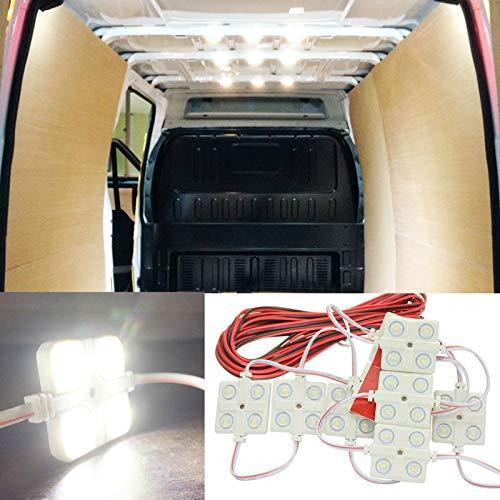 MASO Kit de 40 luces LED para interior de coche, lámpara de lectura ultra brillante, lente de trabajo para camión, kit de coche, coche, autocaravana, caravana, lámpara de techo (DC 12 V, blanco)