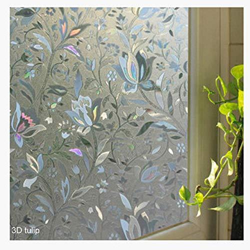 Piero Glazen raamfolie Badkamer Frosted Opaque Self Shading Slaapkamer Woonkamer Glasstickers, 3D-tulp