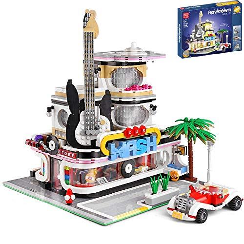 PEXL Haus Bausteine Bausatz, Modular Gitarrenhaus Konstruktionsspielzeug, 2100 Klemmbausteine und Beleuchtungsset, Architektur Modell Kompatibel mit Lego Stadthaus