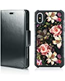 MODOS LOGICOS Compatible with iPhone X/iPhone Xs Case, Magnetic Detachable 2 in 1 Wallet Case, PU Leather Wallet Folio & Removable Air Cushion Case with PU Leather Cover Back - Black/Flower