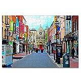 Irlanda Dublin Street Rompecabezas para Adultos, 300 Piezas, Rompecabezas de Madera para niños, Regalo de Viaje, Recuerdo, 16.5 × 12 Pulgadas