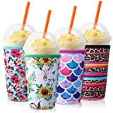 4 Pieces Reusable Coffee Sleeve Neoprene Cup Holders Drinks Insulator Sleeve for Cold and Hot Beverages, 4 Styles (32 oz)