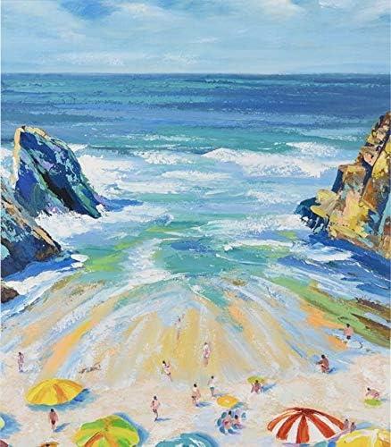 Verf door cijfers voor volwassenen en kinderen DIY olieverfgeschenken Kits PrePrinted Canvas Art Home Decoratie Mooie Beach Blue Seascape 40x50CM