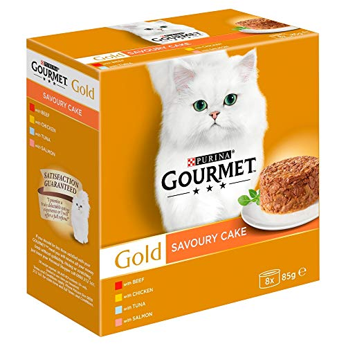 Purina Gourmet Gold Cat Food Savoury Cake, Meat and Fish, 8 x 85g