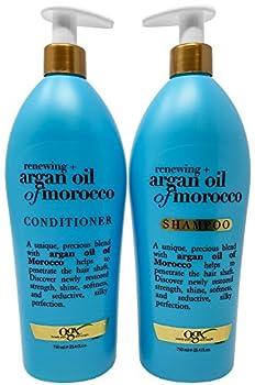 OGX Renewing Moroccan Argan Oil Shampoo and Conditioner Pump Bottle Salon Size Set  2 x 25.4 Oz