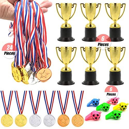 YuChiSX Medaglie per Bambini,Bambini Medaglie del Vincitore in Plastica Oro Argento Bronzo Medaglie Premio Vincitore per Bambini Sport Giorno Festa Partito Giocattoli Premi