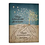 sechars Tree Quote Wall Art Rustic Abstract Golden Life Tree With Birds Painting Canvas Prints Education Family Quotes Poster for Home Living Room Bedroom Wall Decor 24x32inch