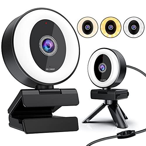 YockTec webcam pc con microfono, Full HD 1080P Web Cam con Luce ad Anello Regolabile USB 2.0 webcam con Microfono Riduzione del Rumore per PC/Laptop, Videochiamate, Studi, Registrazione e Giochi