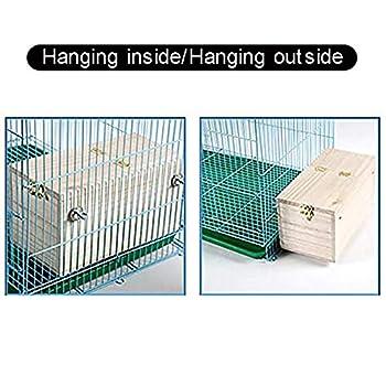 DEDC Cage en Bois pour Oiseaux, Boîte de Nids d'oiseaux pour Perruches Calopsittes, Transparent Vue Fenêtre Maison Élevage pour Tourtereaux