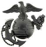 Eagle US Marine Corps Emblem E3 Left Cap Subdued Black USMC Lapel Hat Pin, 1-3/4'