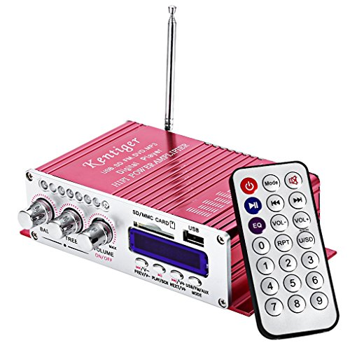 Luckiests USB FM Amplificador de Audio para Autos Radio MP3 Altavoz LED de Alta fidelidad Reproductor Digital de alimentación de la Pantalla para kentiger502 Auto Motocicleta