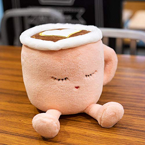 DEMIN Teddy Spielzeug Netter Stamm Latte Kaffee Form Kaffee Echt Leben Tee Grün Kaffee Kaffee Füllung Gefüllte weiche Teddy Teddy Kinder Geschenk (grün, pink) (20/30 cm) 20 cm Rosa, Größe: 20 cm
