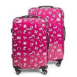 MasterGear Hartschalenkoffer mit Motiv | Design Koffer,Rosa (Pink Paradise), 2er Set (M+L)