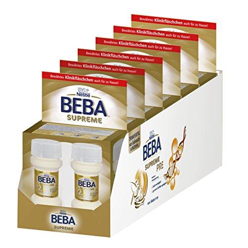 Nestlé BEBA SUPREME PRE Anfangsmilch: trinkfertige Portionsflaschen, mit Omega 3, 6er Pack (6 x 2 x 70 ml)