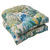 Pillow Perfect Indoor/Outdoor Splish Splash Wicker Seat Cushion, Blue, Set of 2