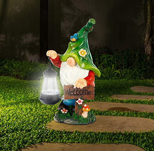 WOGOON Garden Gnome Statue, Resin Figurine With Bright Solar Lantern Lights and Welcome Sign, Outdoor Autumn Winter Solar-powered illumination Yard Art Decorations for Indoor Outdoor Patio Lawn Garden
