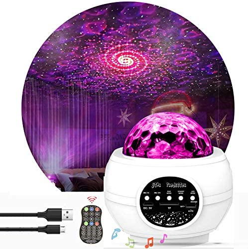 Star Light Projector, KisMee LED Nebula Projector with Galaxy Starry Projector Light Build-in Bluetooth Hi-Fi Stereo Music Speaker for Kid's Bedroom/Pary/Birthday Gifts/Home Theatre (Black)