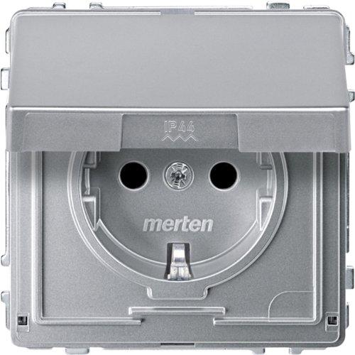 Merten MEG2310-7260 SCHUKO-Steckdose mit Klappdeckel, BRS, Steckklemmen, aluminium, AQUADESIGN