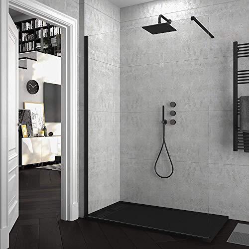 Mampara de ducha FIJA VAROBATH - Vidrio 8MM - Tratamiento antical INCLUIDO (140 Cms, Negro)