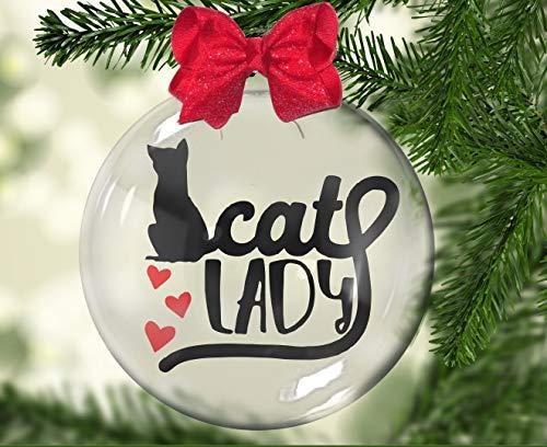 Adornos personalizados Señora del gato, gatito, amante del gato Adornos personalizados decoración del árbol,Bolas de Navidad para la noche de fiesta