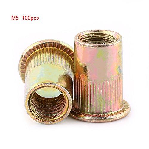 Hilitand 100/20 Stücke M3-M12 Kohlenstoffstahl Flache Gewinde Nietmutter Flansch Rivnut Nutsert Verschluss(M5/100pcs)