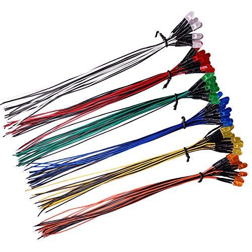 YIXISI 60 Stücke Vorverdrahtete LED, 12V 5mm Vorverdrahtetes Dioden Licht, Diffuse Emittierende Leuchtdiode Multi Farben Sortiert Licht, 20cm (Rot/Gelb/Grün/Blau/Weiß/Orange, Jeder 10 Stücke)