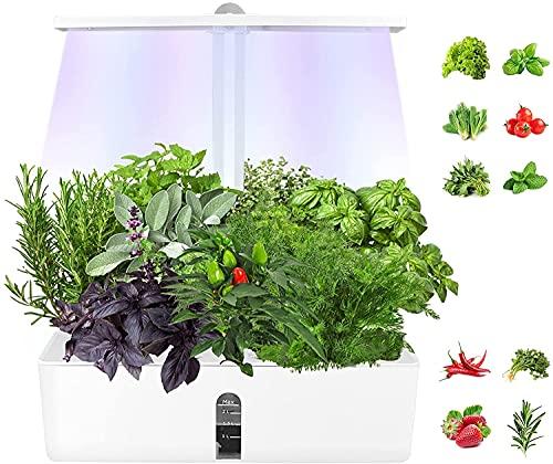 Kacsoo - Kit da giardino per interni, sistema di coltivazione idroponica con luci LED regolabili, cesto per fiori in bambù, pompa di circolazione e polvere nutriente, per interni cucina e giardino
