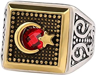 Square Moon Stars Red Resin Stone Ring for Men Size US9