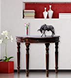 MS Wood Furniture Sheesham Solid Wood Round Console Table for Living Room | Honey Finish (Design-01)