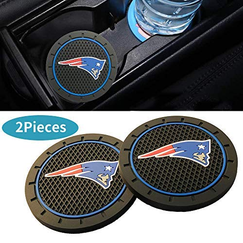 cargooghi 2pcs Car Cup Holder Mats for Sports Fans, 2.8 Inch Team Logo Anti Slip Silicone Car Coasters for All Vehicles (New England Patriots)