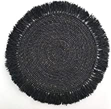 Black Handmade Fringed Basket Wall Hanging Raffia Sweet Grass Straw 100% Authentic Made by Women in African Boho Art
