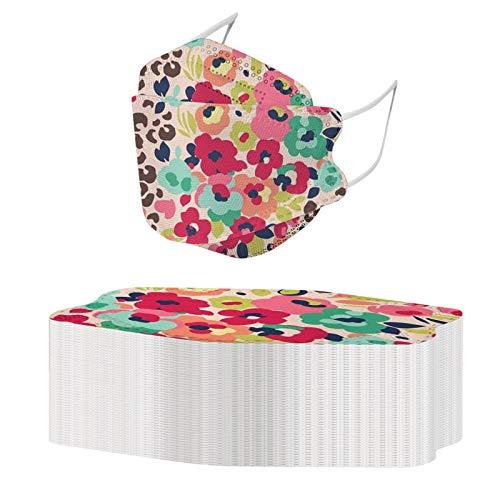 Kuailema Erwachsene Unisex Zahnschutz kann Nicht wiederverwendet Werden, Blumendruck Kopftuch Schal Outdoor-Schutzwerkzeug Fisch-förmige Dekoration