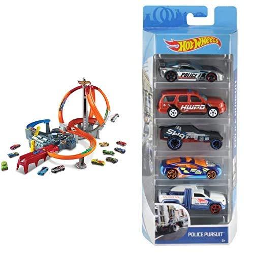 Hot Wheels Action Mega Crash Superbahn, Trackset mit Loopings und Kurven inkl. 2 Starter und 1 Spielzeugauto & 5er...