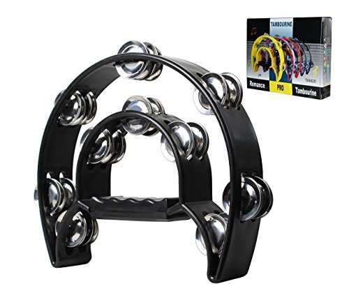 YMC TAM20-BLACK Double Row Tambourine -...