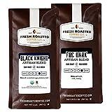 Fresh Roasted Coffee LLC, Black Knight Organic / Dark Roast Blend, Whole Bean, Bundle, 2 Pound Bags