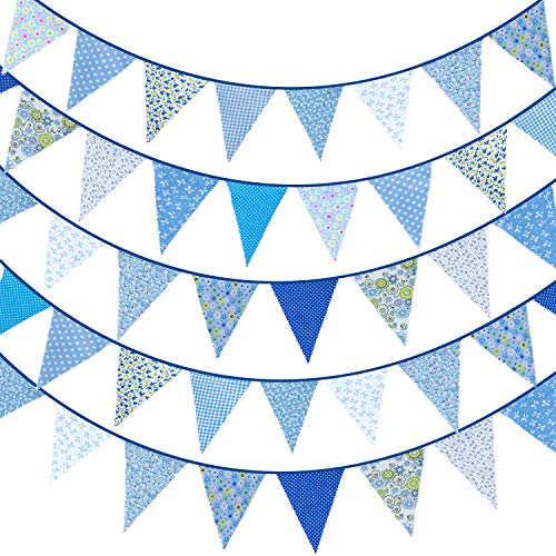 Whaline 39.5ft Fabric Bunting Banner Blue Floral Vintage Bunting Flags Reusable Cotton Triangle Flag Garland with 42pcs Pennants for Garden Wedding Baby Shower Birthday Party Decoration