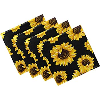 Naanle Sunflower Cloth Napkins Dinner Table Napkins Set of 4 Floral Flower Solid Washable Reusable Polyester Napkins with Hemmed Edges for Home Holiday Party Wedding Oversized 20 x 20 in