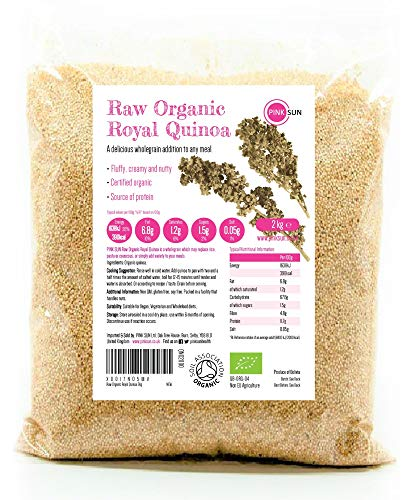 PINK SUN Quinoa Bio 2kg Biologica Real Bianca Integrale Grani Senza Glutine Puro Vegano Vegetariano Non OGM Bolivia Organic Royal Quinua White Bulk