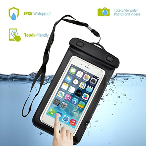 Uviversal Waterproof Phone Case, Firefish Waterproof Pouch Bag Case with Armband + Lanyard Snowproof Dirtproof Case for Apple iPhone 7 6 5, Samsung, LG, Motorola and Devices Up To 7.0